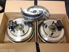 FORD FOCUS REAR 2 BRAKE DRUMS + 2 FITTED WHEEL BEARINGS  SHOES WHEEL CYLINDERS