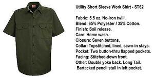 DARK GREEN New Uniform WORK SHIRT Red Kap ST62OG Short Slv dickies