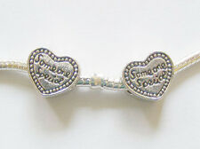 2 Metal Heart Charm Beads - For Charm Bracelet -  Someone Special