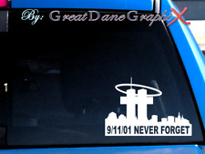 9/11/01 WTC NEVER FORGET #1 -Vinyl Decal Sticker -Color Choice -HIGH QUALITY