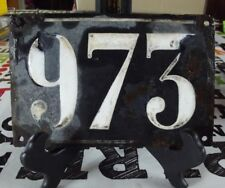 Large old black French house number 973 door gate wall plate enamel metal sign