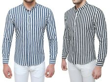 Camicia di lino uomo Sartoriale blu nero estiva a righe con collo alla coreana