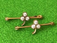 2 vintage antique Victorian clover Rhinestone safety bar pin set lot