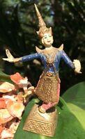 VINTAGE PAINTED SOLID BRASS THAI DANCER JESTER? STATUE/FIGURE
