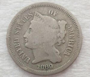 1869 3 Cent Nickel Coin