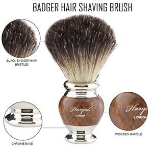New Barber Salon Black Badger Hair Shaving Brush Steel & Wooden Handle HARYALI