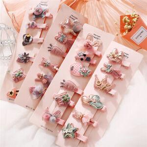 6pcs/Set Fashion Cute Pink Girl Infant Hair Accessories Fabric Clips Headband