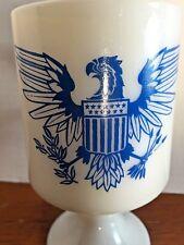 Milk Glass Coffee Mug Pedestal Blue American Eagle White Opaque Tea Coco Bird