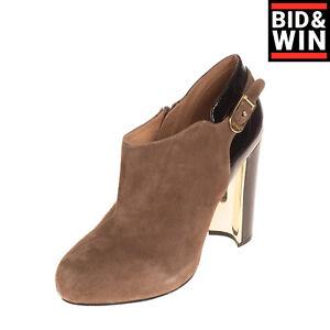 GAUDI Suede Leather Booties EU 39 UK 6 US 9 Heel Varnished Trim Almond Toe