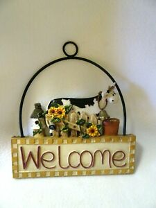 Metal and Resin Welcome Hanging Sign-Farmhouse/Country/Rustic-Cow w. Bell