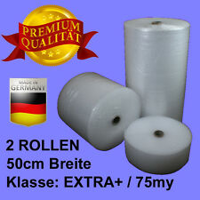 2 ROLLEN 50cm BREITE Klasse EXTRA+ 75my LUFTPOLSTERFOLIE #NA120
