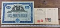 National Electric Power Company Stock Certificate 6% Preferred Blue 1930 Maine
