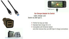 Dual USB Port Travel Adapter In Car Charger with Type-C USB for Nintendo SWITCH