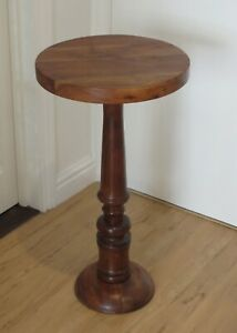 Teak Side Table, Round, Antique, Very Good Condition