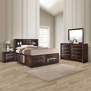 NEW Brown Storage Queen King Bedroom Set Dark Cherry Furniture Bed/D/M/N