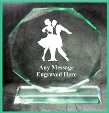 GLASS BALLROOM DANCING 18CM OCTAGON AWARD TROPHY GA1049 ENGRAVED PERSONALISED