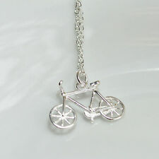 """Shiny Polished 925 Sterling Silver 3D Bicycle Bike Pendant Necklace 18"""" 46cm"""