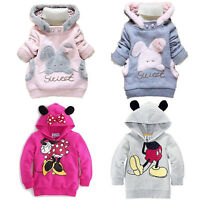 Toddler Baby Girl Boy Kids Mickey Minnie Hooded Sweatshirt Hoodies Jacket Winter