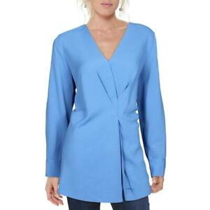 Alfani Womens Blue Contrast Trim V-Neck Shirt Tunic Top Blouse XL BHFO 7206