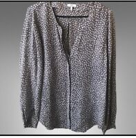 joie 100%silk taupe long sleeve blouse