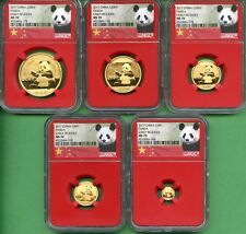 PANDA  GOLD  2017 SET NGC 70 EARLY RELEASES  RED CORE