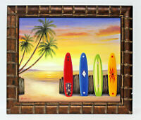Surfboards Sand Beach 20 x 24 Art Oil Painting on Canvas w/Custom Frame