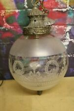 vintage Gilt Glass globe Ceiling light lamp shade 10'' diameter  Frost /etched