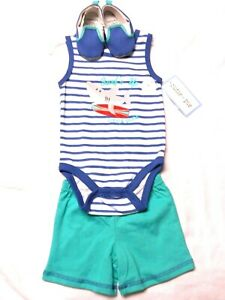 NWT - Boy's Infant 3 Piece(one piece, shorts, shoes) Set  3/6 Months