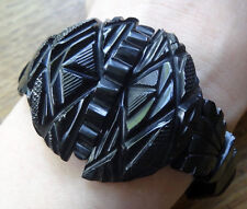 antique Victorian WHITBY JET fancy carved panel mourning bead bracelet -N240