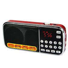 NEW Red Digital AM/FM Pocket Radios Receiver Player Speaker Flashlight USB+track