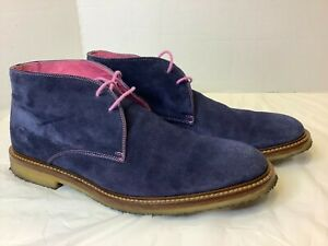 To Boot New York Adam Derrick Banker Chukka Boots Blue Suede Leather 9.5 Pink