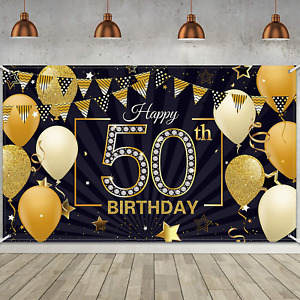 Happy 50th Birthday Backdrop Large Fabric Black Gold Anniversary Sign Banner
