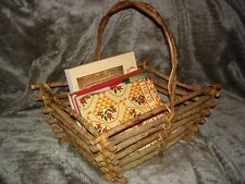 Large Rustic Twig & Branch Basket handle vintage magazine holder hand crafted .