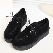 Fashion Women Creepers Platform Shoes Floral Lace up Thick Soles Chunky