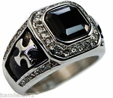 Knights Templar Cross 4 carat Black Onyx mens ring Platinum overlay cz size 9