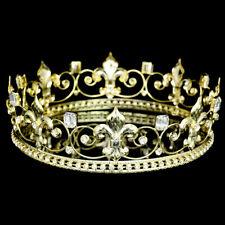 "Men's Gold Fleur De Lis Rhinestones Crystal 2.25"" Tall Full King Crown 81030"