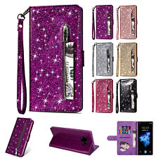 Case For Samsung Galaxy Phone Bling Glitter Flip Card Wallet Stand Strap Cover