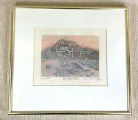 1977 Japanische Radierung Shoichi Hasegawa Mittel Century Signiert Selten Rahmen