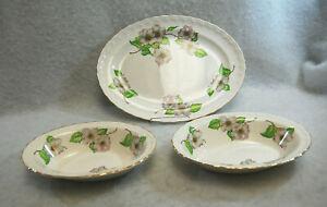 Pope Gosser Dogwood Shell Edge China 1 Oval Platter & 2 Vegetable Bowls  S9673