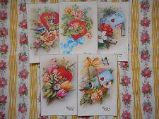 Five, set unused vintage French 'Happy Birthday' postcards - cute birds, cherubs