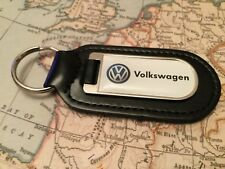 VW PRINTED Quality Black Real Leather Keyring VOLKSWAGEN GOLF POLO BEETLE UP