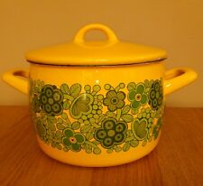 Vintage enamel ware finel Arabia casserole pot pan stock retro primavera yellow