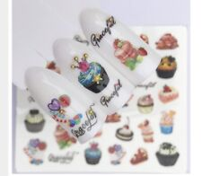 3 Sheets Cute Cupcake Cake Nail Art Sticker Water Transfer Decals Decorations