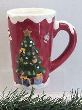 "TALL 6"" GIBSON SNOW TOPPED CHRISTMAS TREE SCENE CHOCO LATTE COFFEE MUG"