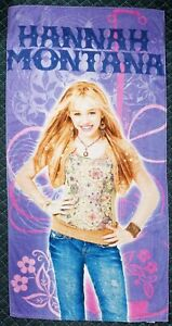 Disney Hannah Montana Young Miley Cyrus Beach Bath Towel Vintage 55 x 28 Inches