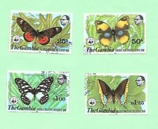 The Gambia 1980 Butterflies Set 4 Stamps  VFU.