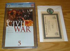 Civil War #5 CGC 9.8 mark millar - marvel's avengers - w/dynamic forces COA 2006