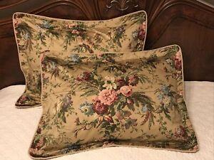 FAB! Ralph Lauren Adriana Golden Floral Sateen Pair STD Pillow Shams Italy MINT!