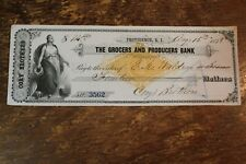 BANK CHECK GROCERS AND PRODUCERS BANK PROVIDENCE RHODE ISLAND 1878
