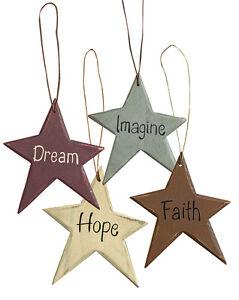Country Farmhouse Wooden Star Ornies Dream Faith Hope Imagine